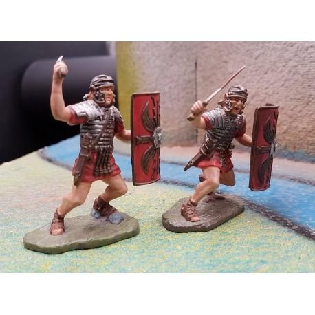 2 légionnaires romains au combat, avec glaives et boucliers, SPQR ROME