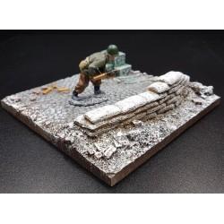 Décor-diorama, emplacement de combat avec sacs de sable, en hiver