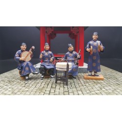 orchestre traditionnel de 4 musiciens Chinois, Chine impériale ancienne