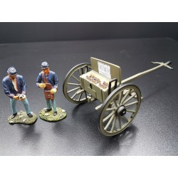 Caisson d'artillerie, 2 artilleurs, Etats de l'Union, guerre de sécession 1861-1865