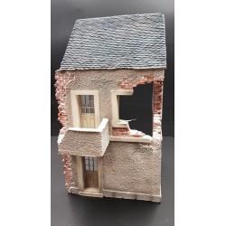 Décor-diorama, maison endommagée, Cotentin Normandie été 1944