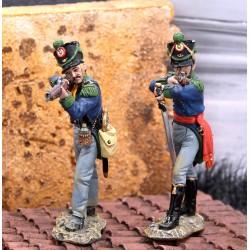 Officier et chasseurs d'infanterie légère Mexicains à l'assaut de Fort ALAMO TEXAS 1836