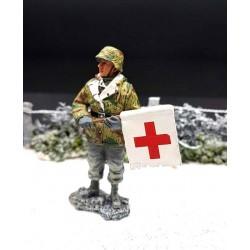 BBRA003 Panzergrenadier Allemand avec drapeau croix-rouge, Bastogne 1944