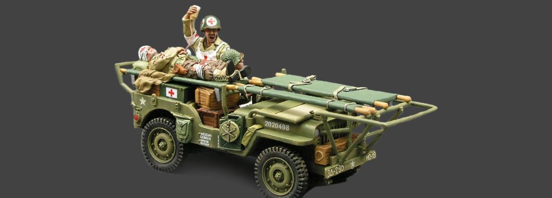 Jeep, 2 infirmiers, 1 soldat blessé Americains, normandie 1944